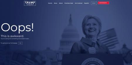 Сайт Трампа выдает фото Хилари Клинтон при ошибке 404