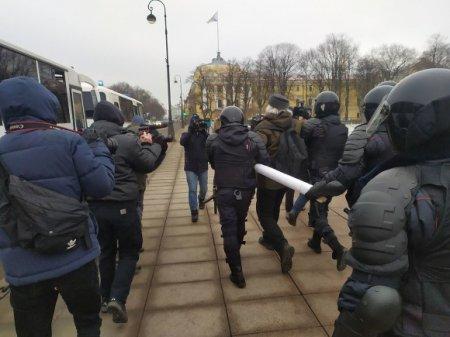 На Сенатской площади в Петербурге проходят задержания активистов, вышедших на пикеты против поправок в Конституцию
