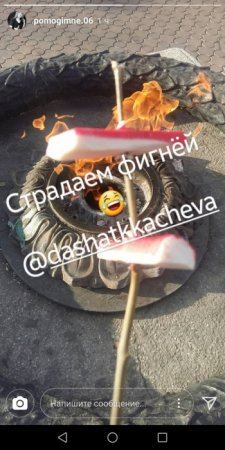 Омская отличница пожарила крабовые палочки на Вечном огне