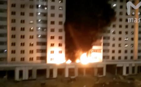 В Новой Москве загорелась высотная новостройка